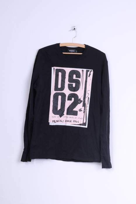 acdc7bebbca7 Dsquared2 Dsquared2 Mens L Long Sleeved Shirt Black Cotton Graphic ...