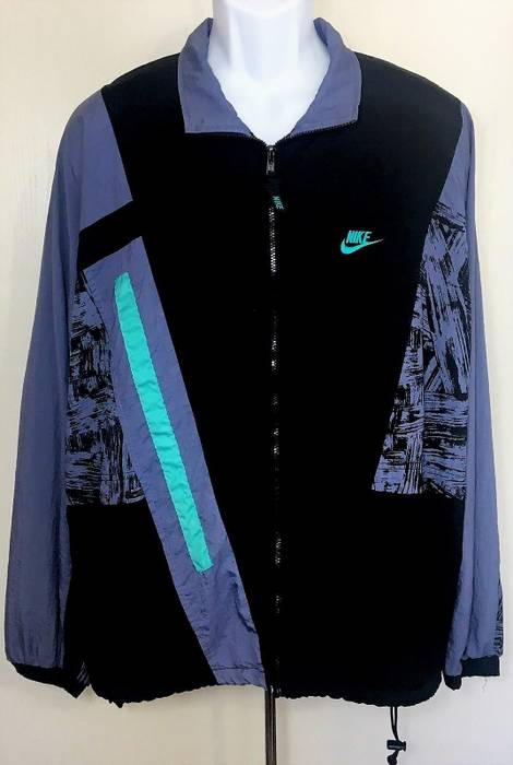 bca4b22ae5 Nike Nike Windbreaker Jacket Vintage 90s Black Blue Teal Light Running  Swoosh Sport Rap Hip Hop