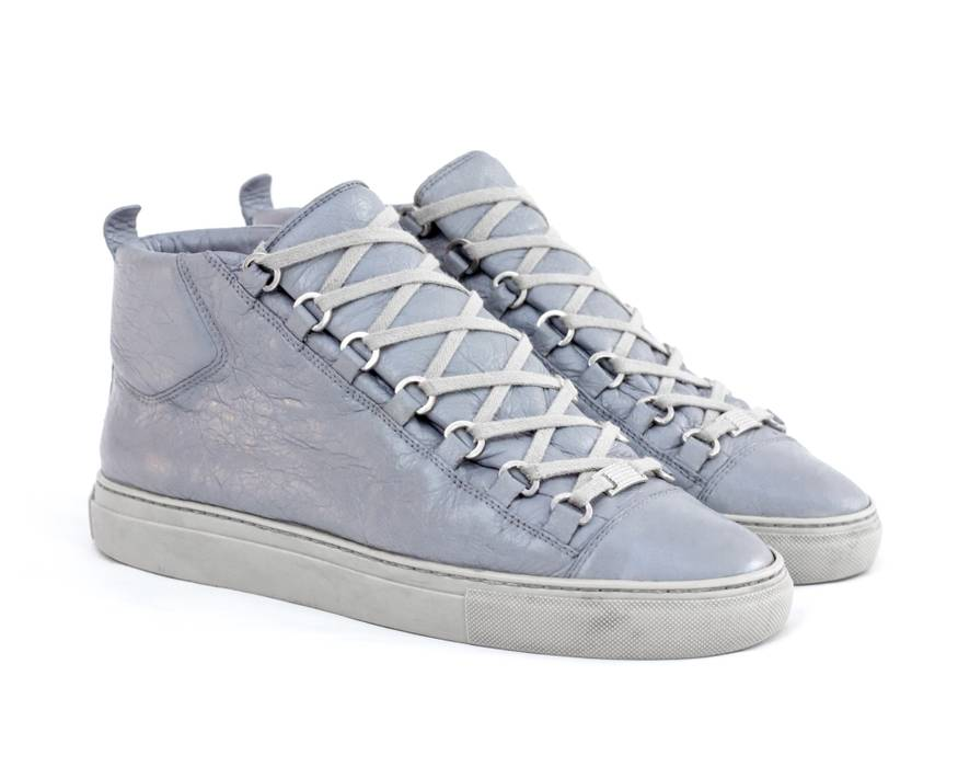 796e1404f3b2 Balenciaga Balenciaga Arena Creased Leather High Top Sneakers Light ...