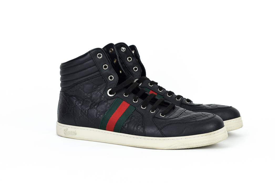 e0d339816cb Gucci Gucci Guccissima High Top Sneakers Shoes Red Green Web Stripe ...