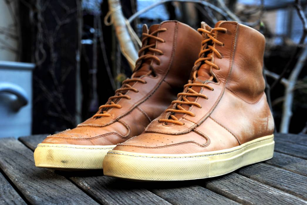 1f2be2b52187 Common Projects High-Top Tan 1927 Vintage Basketball Sneakers Size 9 ...