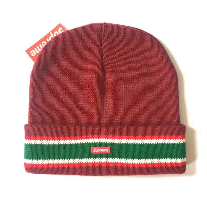 Supreme Gucci Stripe Red Box Logo Beanie NWT Size one size - Hats ... 39998f989ea