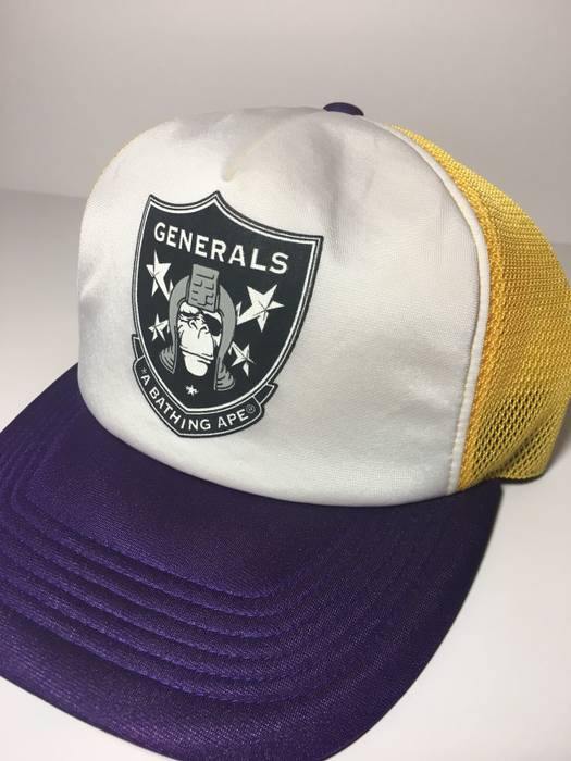 Bape Vintage Rare Generals By A Bathing Ape Trucker Hat Size one ... 4c8d67d19508