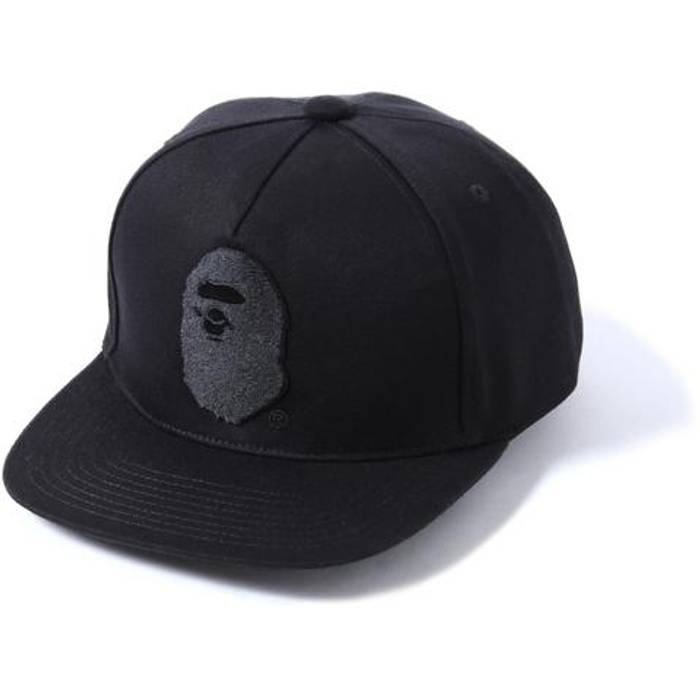 Bape Bape A Bathing Ape Head Snapback Hat Cap Black Tonal Silver Pin DS NEW  Size 563519fc9e6