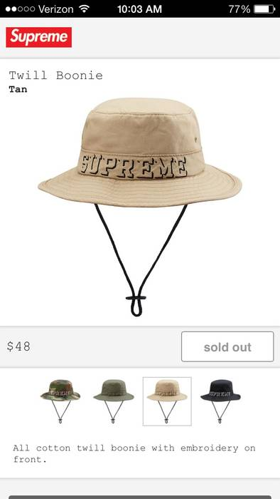Supreme Twill Boonie Tan Hat M L Size one size - Hats for Sale - Grailed 34b0671341b
