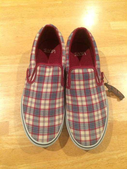 Vans Vans Classic Slip on LX Prima Plaid red pink J Crew Fear of God ... 72a95d5d0