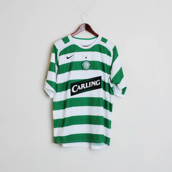 737561422 Nike. Nike Celtic Football Short Sleeve 1888 Carling Striped Shirt Mans L  ...