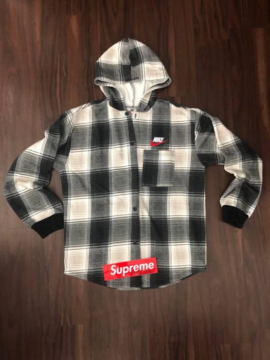 Supreme Supreme X Nike Plaid Hooded Sweatshirt Black Size US M   EU 48-50 eddb2837efd9