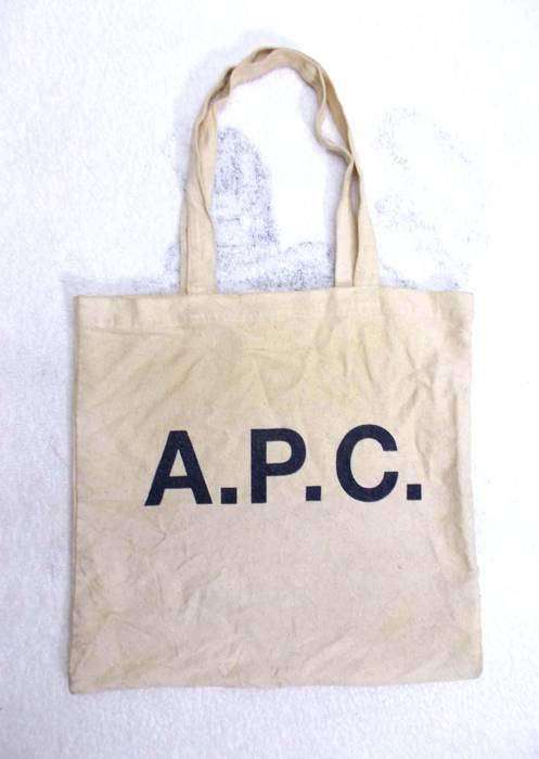 A P C Vintage Apc Logo Print Canvas Tote Bag Size One