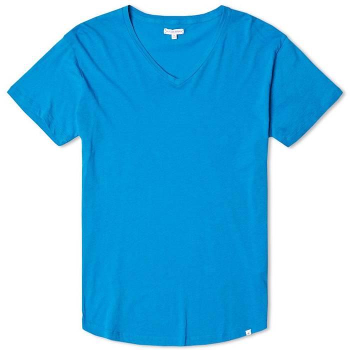Orlebar Brown Bobby V Dive Blue V Neck T Shirt Size L Short Sleeve