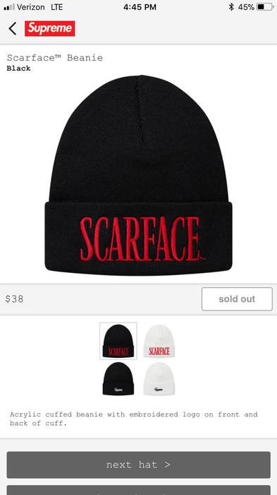 606fdf436ce Supreme Supreme Scarface Beanie Black Size one size - Hats for Sale ...
