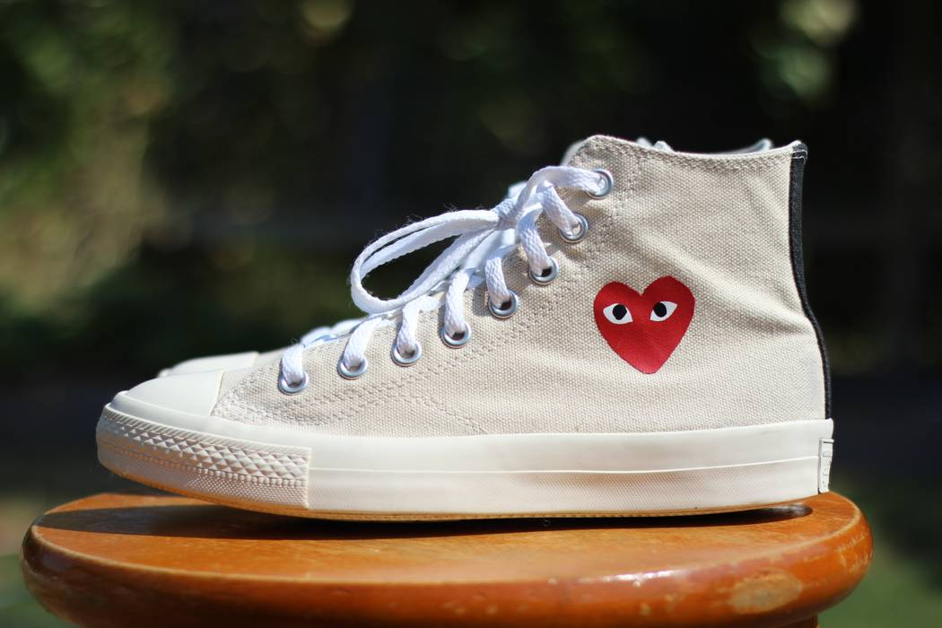 28d18400bc49 Converse CDG High Tops Cream White Little Heart OG 1.0 Chuck Taylor Size US  7