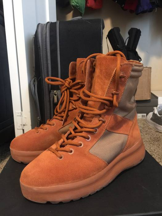 ab43074004e066 Adidas Kanye West ORANGE YEEZY SEASON 3 MILITARY BOOTS Size US 11   EU 44