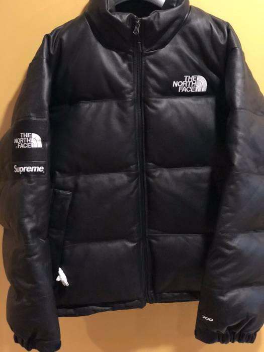 Supreme Black Leather Nuptse Jacket Size l - Leather Jackets for ... 8f5110cfe