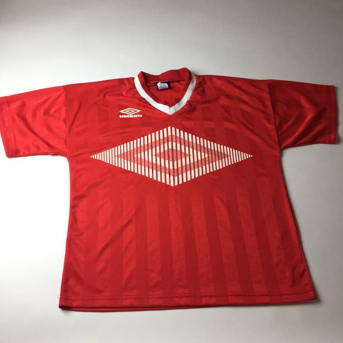 Umbro VTG UMBRO Soccer Jersey Big Logo Red Made in USA Size Medium ... 53600d796