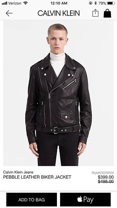 Calvin Klein Pebble Leather Biker Jacket Size m - Leather Jackets ... d9c67a038380