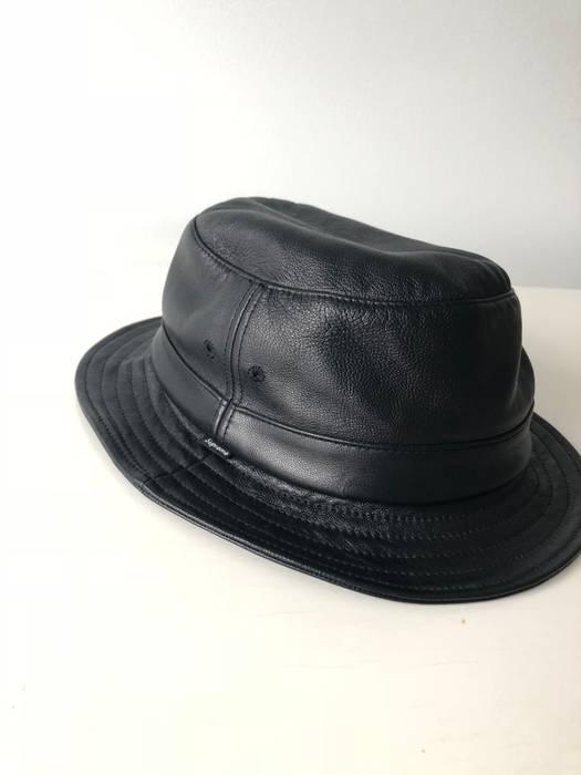 55390857bd3 Supreme Supreme Black leather Bucket Hat Medium Large small box logo Size  ONE SIZE -