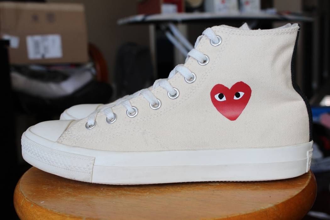 e2ffaa396e8f Converse CDG High Tops Little Heart OG 1.0 Chuck Taylor Cream White Size US  8