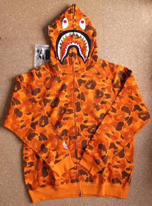 Bape bape fire flame orange camo shark hoodie Size l - Sweatshirts ... 5a7669006a3f