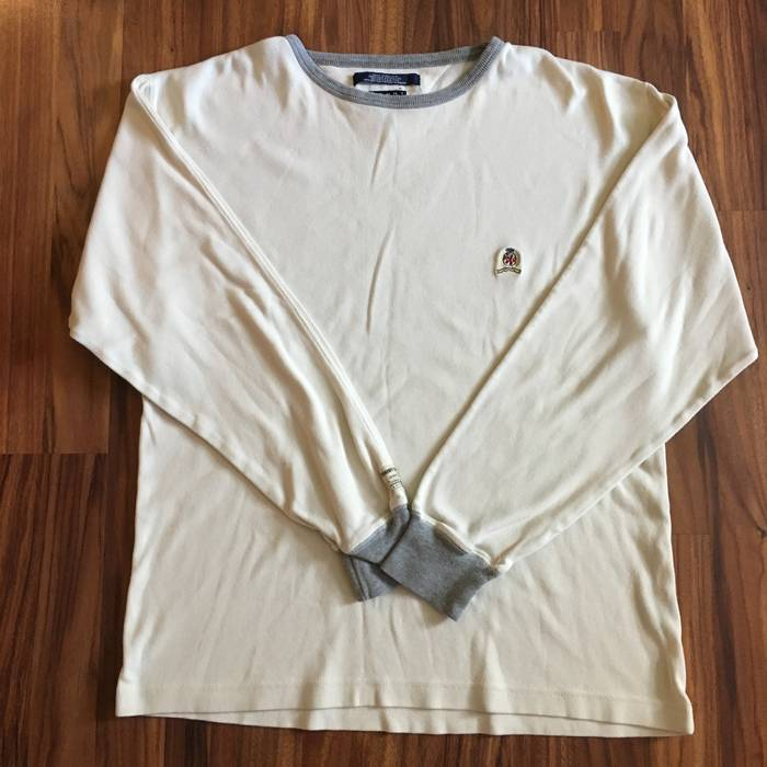 abd770200 Vintage Vintage Tommy Hilfiger Mens Small Sweatshirt Cream and Gray 100%  Cotton Size US S