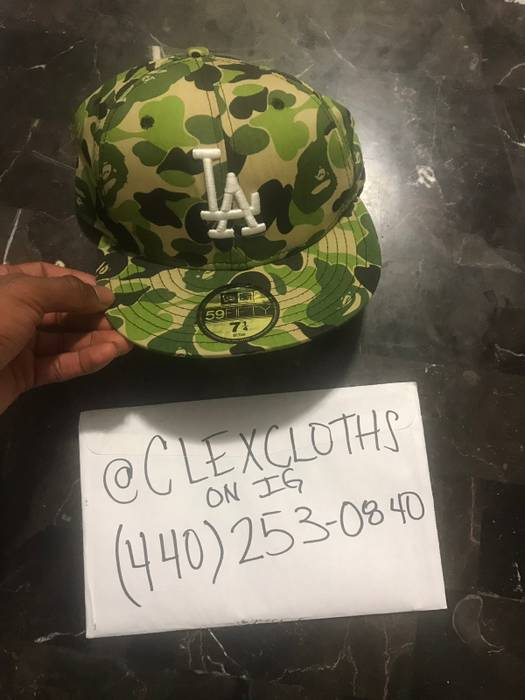 abdd998280a Bape Bape Los Angeles Dodgers 1st Active Came Green Yellow Fitted 7 1 4 Size