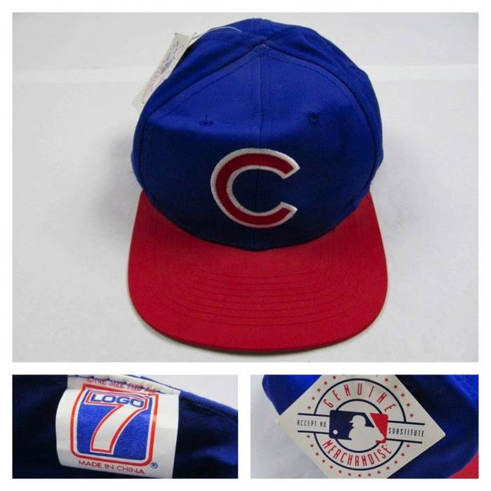 Vintage Vintage 90s Logo 7 Chicago Cubs Baseball Snapback Hat MLB New with  Tags NWT Size 9db4958bc2d