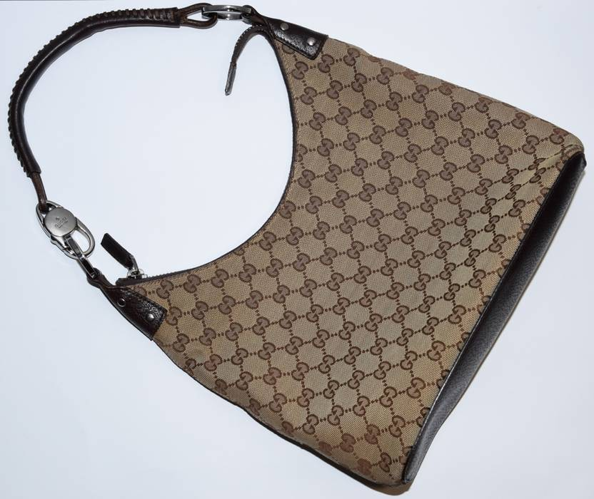 912c06aaf7f8 Gucci. AUTHENTIC GUCCI GG MONOGRAM CANVAS BROWN LEATHER SHOULDER BAG ...