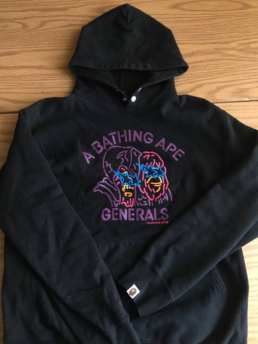 Bape A Bathing Ape Generals Black Hoodie Sweatshirt Shark Size m ... 1806ba323ee3