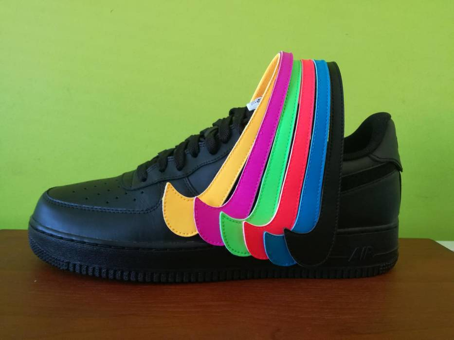 52b5e7467bcccb Nike Nike Air force low 1 black swoosh pack Size 11 - Low-Top ...