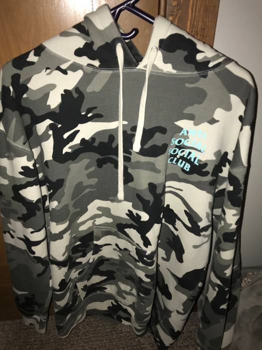 50ae4a9224c3 Antisocial Social Club ASSC Grey Blue Camo Melrose Ave Hoodie Size l ...