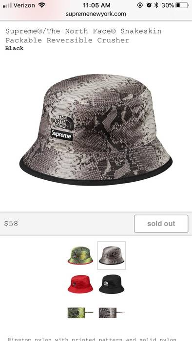 Supreme Supreme X TNF L XL Black And White Snakeskin Packable Reversible  Crusher Bucket Hat 66fe6749756