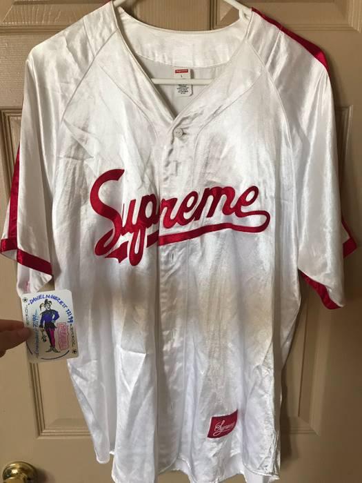 Supreme Supreme Satin Button Up Baseball Jersey  1 White   Red Size US L   ba41a189d