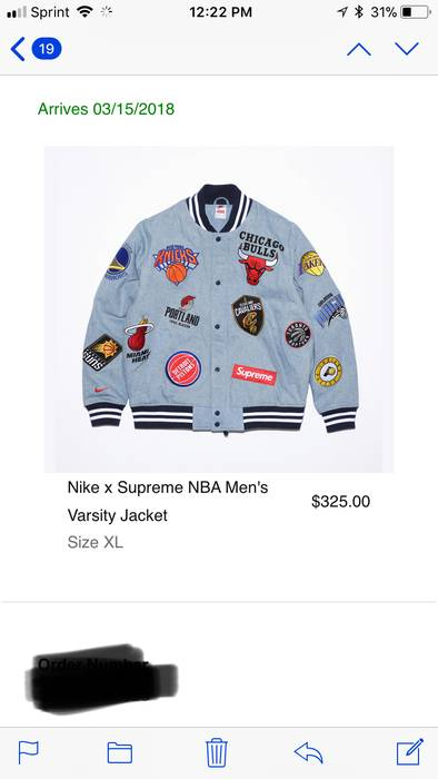 d670bfde5 Supreme Supreme NBA varsity jacket DENIM XL Size xl - Denim Jackets ...