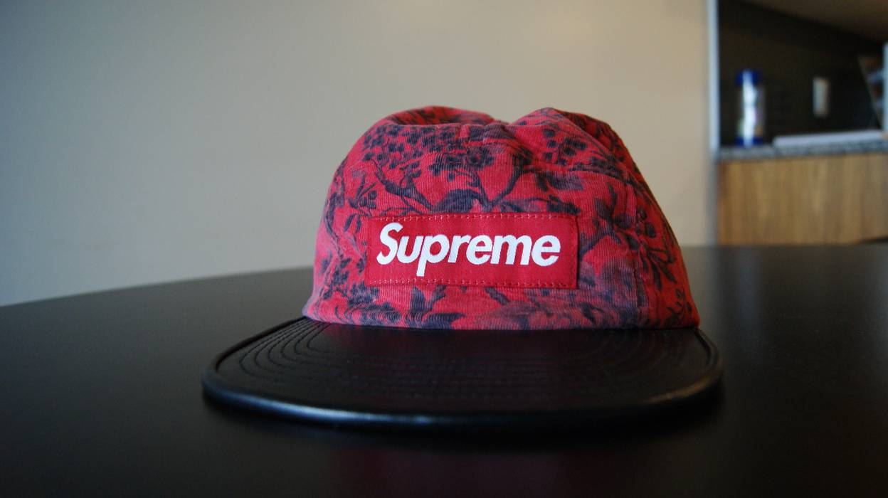 9986ba7da70 Supreme Red Floral Camp Cap Leather Brim Size one size - Hats for ...