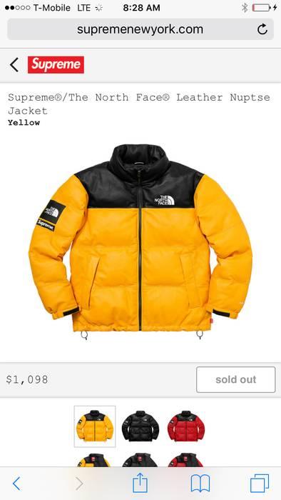 Supreme. supreme x northface leather nuptse jacket. Size  US M   EU 48-50  ... 4d219d784