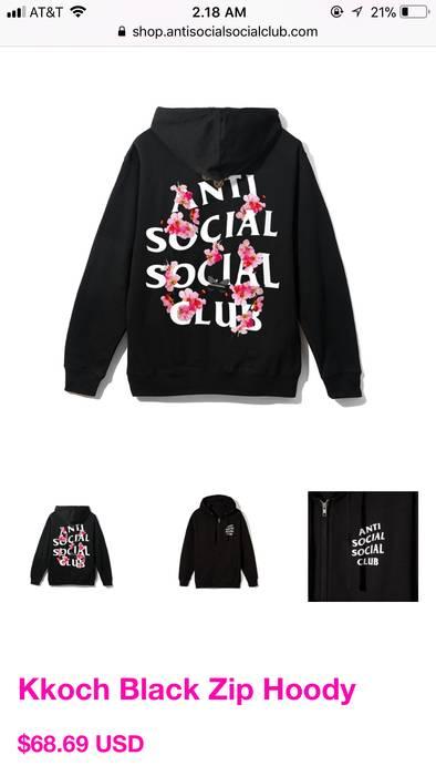 faaf532f811d Antisocial Social Club Kkoch Black Zip Hoody black Size s ...
