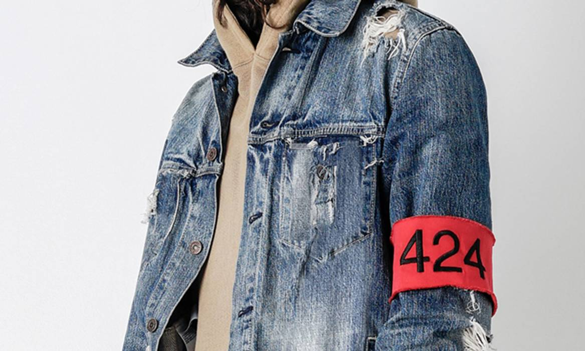 424 On Fairfax Distressed Denim Jacket w/ Armband GRAIL Size US S / EU 44