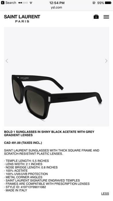 e9449028917 Saint Laurent Paris BOLD 1 SUNGLASSES IN SHINY BLACK ACETATE WITH GREY  GRADIENT LENSES Size ONE