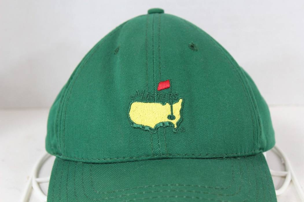 6aa4869b771 Vintage Vintage 80s THE MASTERS Augusta Union Made Leather Strap Spell Out Dad  Hat Green Size