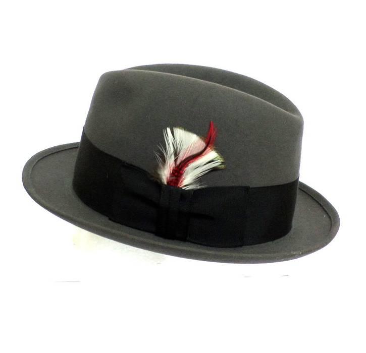dc0d45c3919 Stetson. Royal Stetson Gray Felt Fedora Hat 7 1 8 Vintage Black Band Feather  Excellent