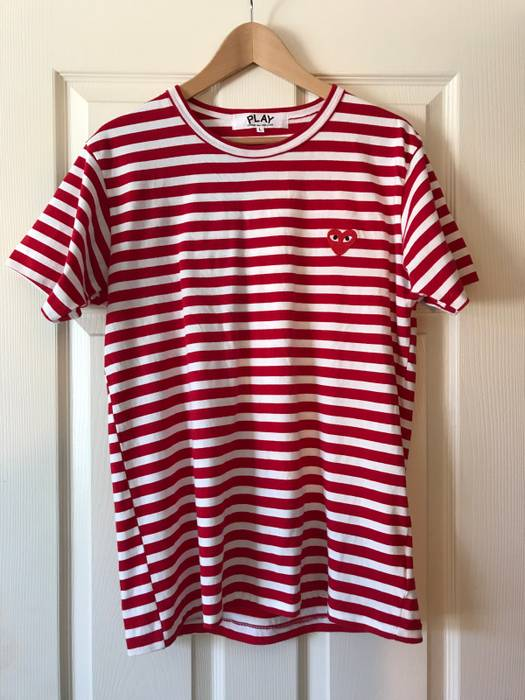 125150829f78 Comme Des Garcons Play PLAY RED STRIPED LOGO TEE Size l - Short ...