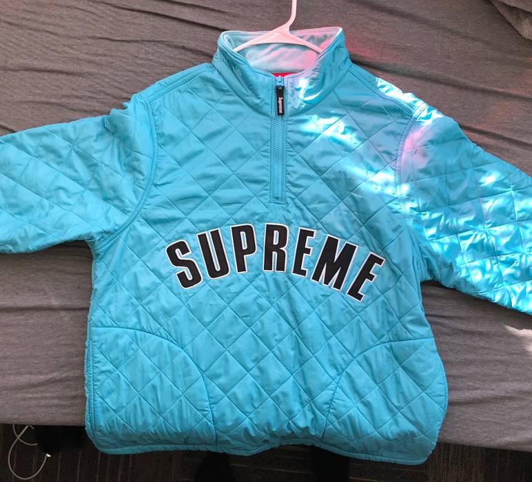 9ce08aed0550 Supreme Supreme Arc Logo Quilted Half Zip Pullover Light Blue Size US L    EU 52
