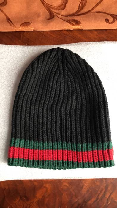 90dd866b3e6 Gucci Black Gucci Striped Rib Knit Wool Hat with Green Red Web Size ONE SIZE