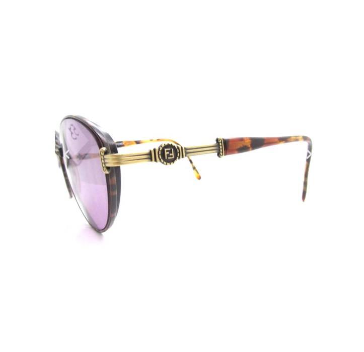 a724597d0f16 Fendi Fendi FF Gold Tortoise Brown Round Oval Vintage Frame Eyeglasses  Purple Lenses Shades Sunglasses Size