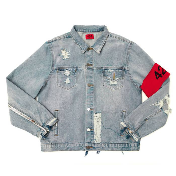 1b1b1304ef753 424 On Fairfax distressed denim jacket Size m - Denim Jackets for ...