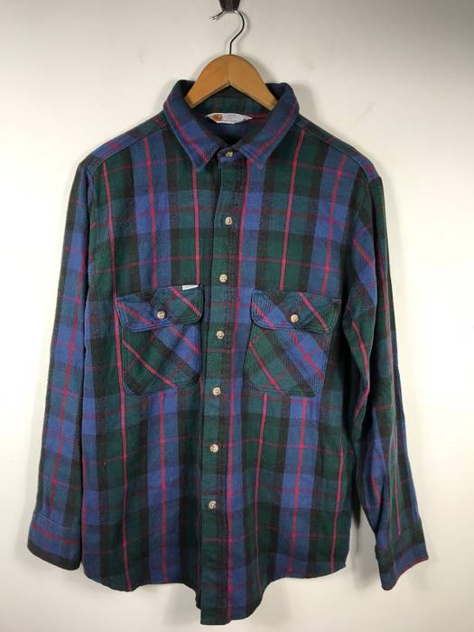 Carhartt Need Gone Today Rugged Outdoor Wear Doubles Pocket Shirt Armpit
