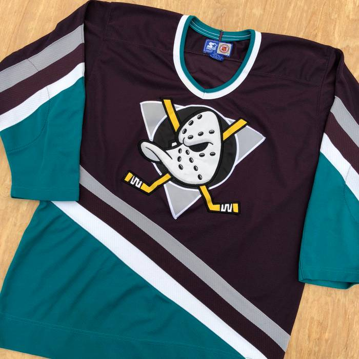 Vintage 90s Anaheim Mighty Ducks Embroidered Hockey Jersey Top Blank Back  VTG Size US M   cb389bd30