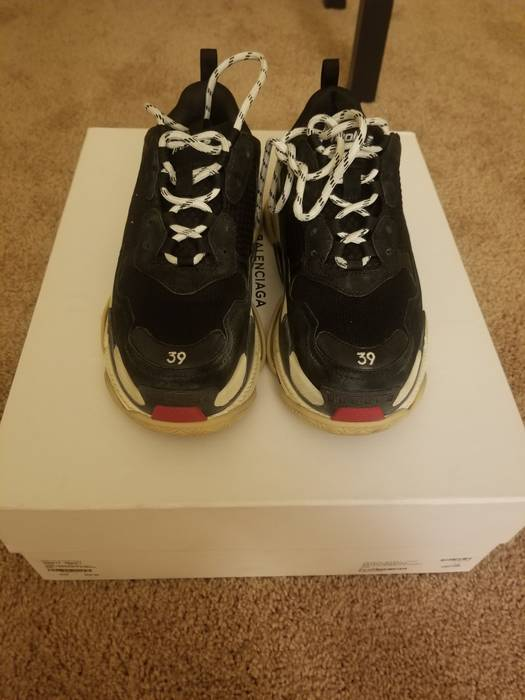 2b359e0a7d45 Balenciaga Balenciaga Triple S Black-white -Red Size 6 - Low-Top ...