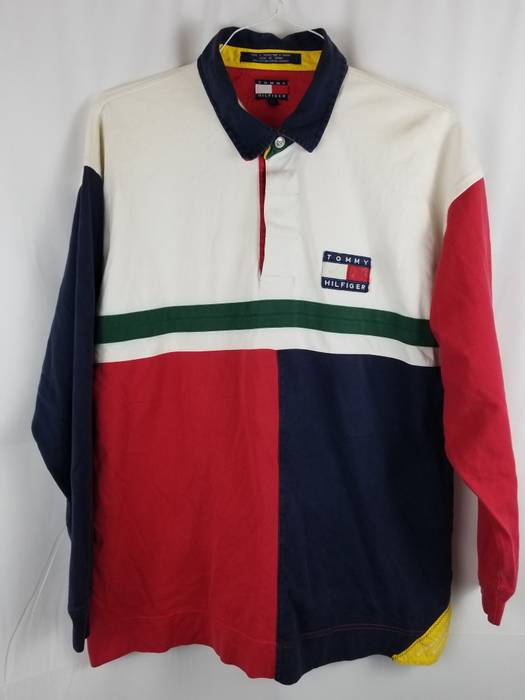 603935547b7 Tommy Hilfiger 90 S Colorblock Sailing Gear Polo Size