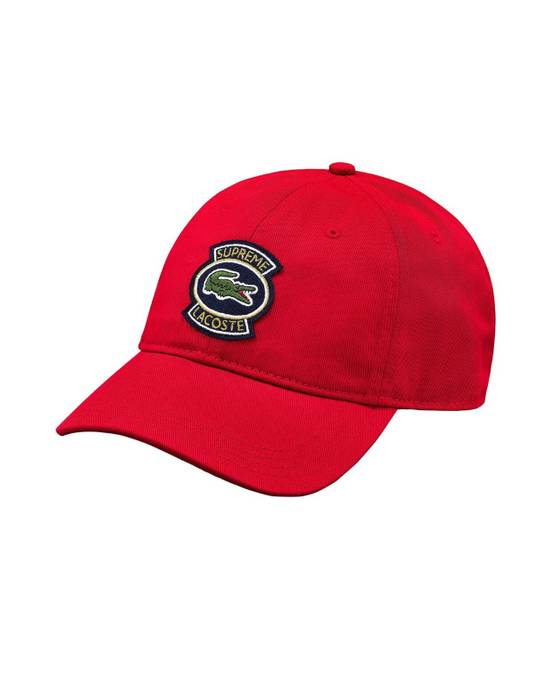 Supreme Supreme X Lacoste Twill 6 Panel Hat Red Baseball Cap Size ONE SIZE 753e12584ef